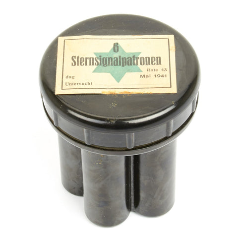 Original German WWII Flare Pistol Cartridge Bakelite Canister - Green