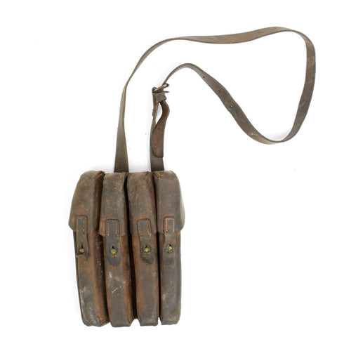 Original German WWII MP 40 Leather Four Cell Magazine Pouch