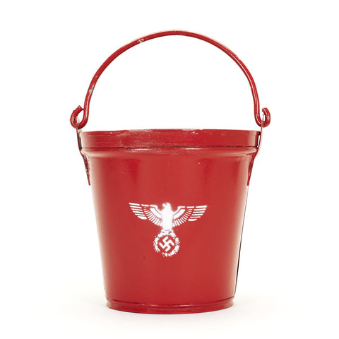 German WWII Feuerwehr Vintage Red Fire Bucket