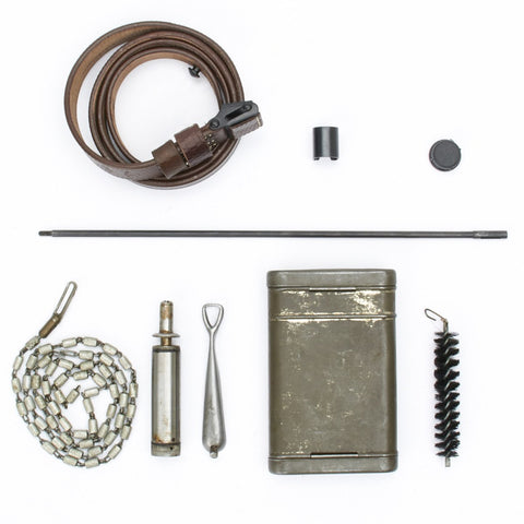 German WWII 98k Rifle Accessory Set- Cleaning Kit, Rod, Sling, Sight Hood and Muzzle Cover