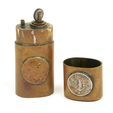 Original French WWI Brass Pocket Lighter Made from Three French Coins