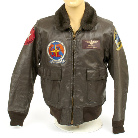 Original USMC Pilot Type G-1 Leather Flight Jacket Red Devils - Vietnam War Era Original Items