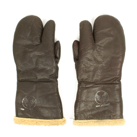 Original U.S. WWII Army Air Force A-9A Leather Flying Mitten Gloves Original Items