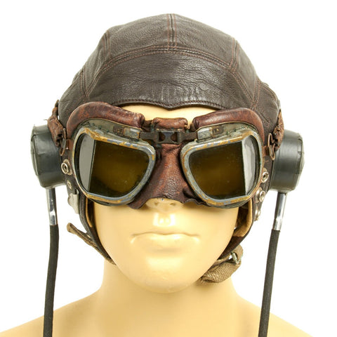 Original British WWII RAF Type C Leather Flying Helmet with Mk VIII Goggles