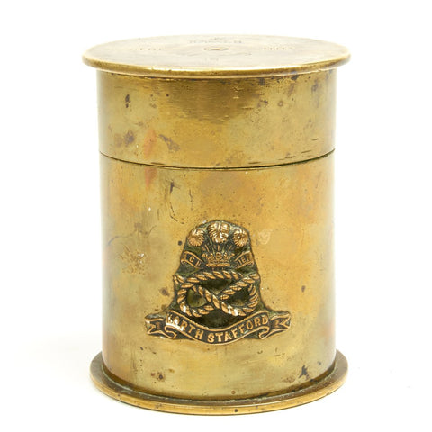 Original British WWI Trench Art Shell Case Tobacco Jar - Dated 1917