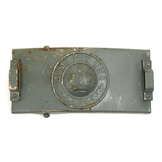 Imperial German WWI Prussian Steel Signal Telegraph Troop EM-NCO Belt Buckle