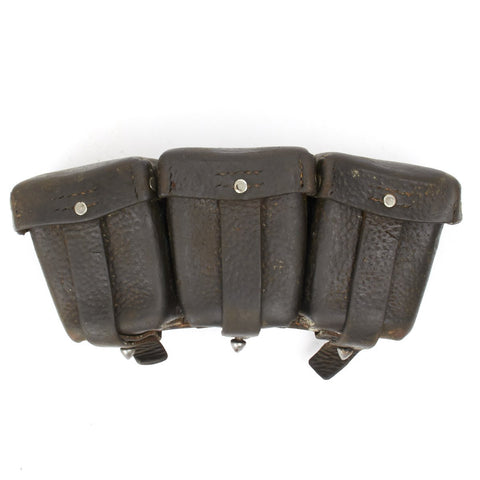 Original German WWI Gewehr 98 Rifle Brown Leather Triple Ammunition Pouch- WW1 Dated