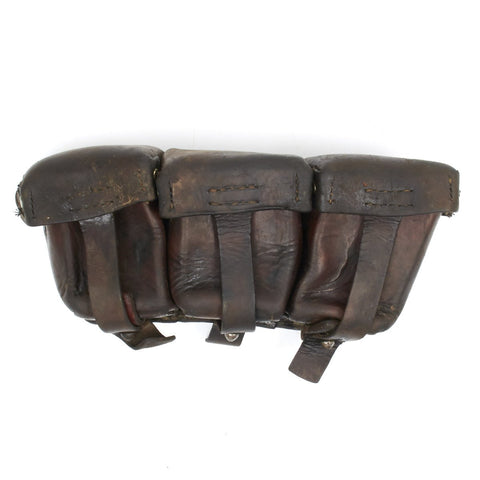 Original German WWI Dated Gewehr 98 Rifle Brown Leather 8mm Ammunition Pouch- Grade 2
