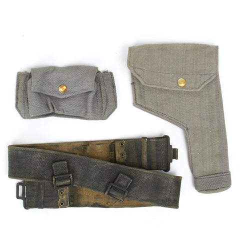 Original British WWII RAF Blue Web Pistol Holster, Ammo Pouch & Belt Set