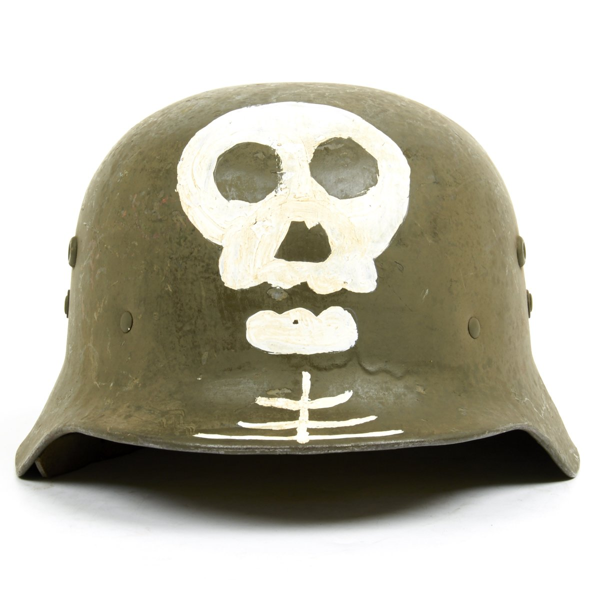 Original wwii hungarian m38 steel helmet with finnish ss totenkopf