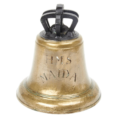 Original Napoleonic Era British Brass Ship Bell Dated 1806 Engraved HMS MAIDA Original Items