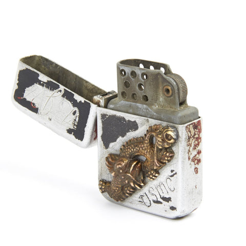 Original WWII USMC Zippo Style Lighter with Japanese Samurai Sword Menuki- Named