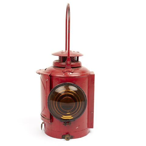 Original British WWII Red Railroad Oil Lantern- Adlake Non Sweating Lamp Original Items
