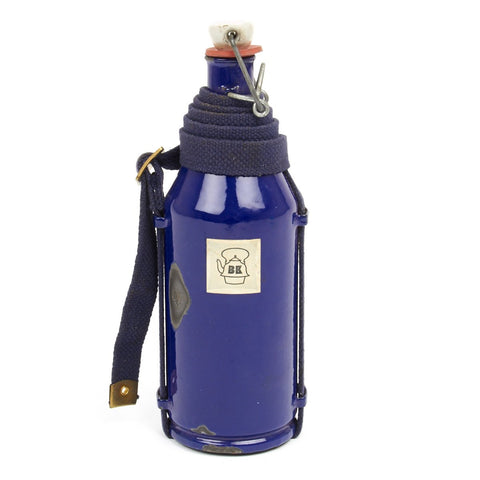 Original Dutch WWII Military Blue Enamel Water Bottle with Carry Strap Original Items