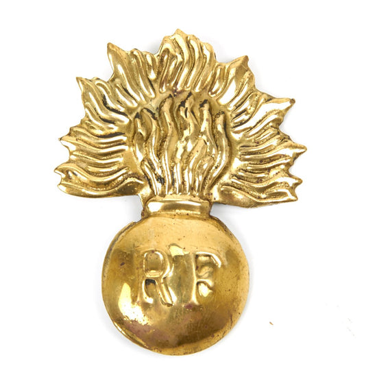 French WWI Adrian Helmet Era Flaming Bomb Brass Badge