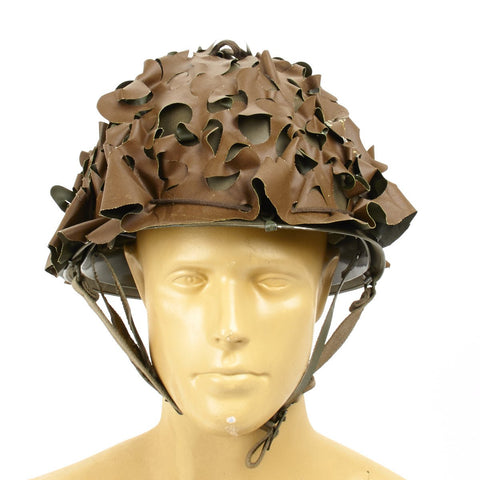 French M53 Paratrooper Airborne Helmet with Camouflage Net