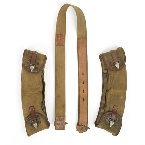 Original German WWII MG 13 Magazine Canvas and Leather Carry Pouches with Neck Strap- 8 Magazines Original Items