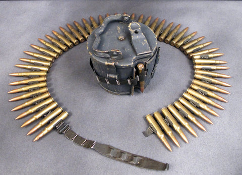 German MG34 & MG42 Basket Ammunition Can with Dummy 8mm Cartridges in Belt