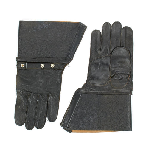 German WWII Style Black Leather Gauntlets for Kradschutzen- Motorcycle Units