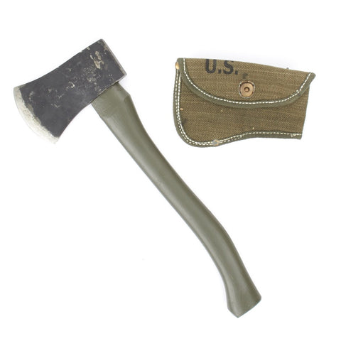 U.S. Original WWII Axe Hatchet with New Made Canvas Carrier Original Items