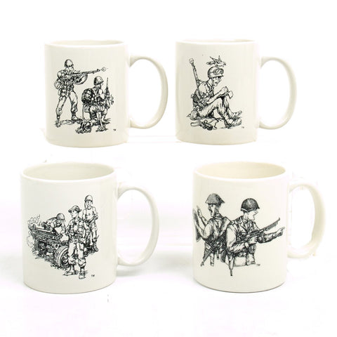 IMA Coffee Mug Set of Four- Caricatures of U.S. Forces in WWII