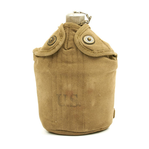 Original U.S. WWII M1910 Canteen and Cup with M1942 Mounted Airborne Cover