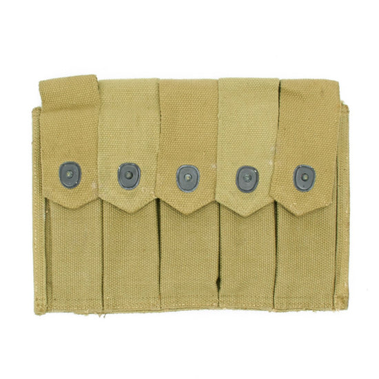 Original U.S. WWII Thompson SMG Five Cell 20 Round Magazine Pouch: WWII Dated & Marked Original Items