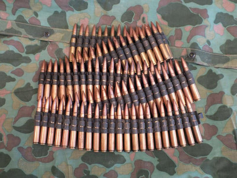US WW2 Cal. 30 Display Ammunition in Steel Belt, 100 Rounds