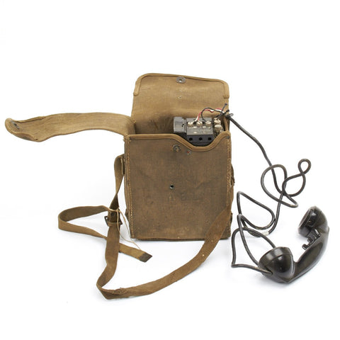 Original U.S. WWII Army Field Telephone Model EE-8 in Canvas Carry Case