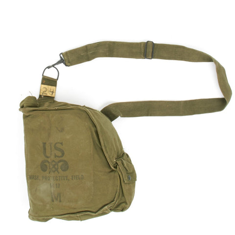 Original U.S. Vietnam Era M17 Gas Mask Bag for USMC and Army with Carry Strap Original Items