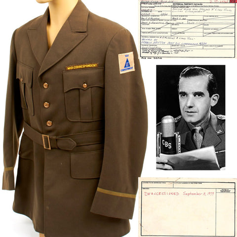 Original U.S. WWII Class A Tunic of Edward R. Murrow CBS War Correspondent with Historical Property Catalog Certificate Original Items