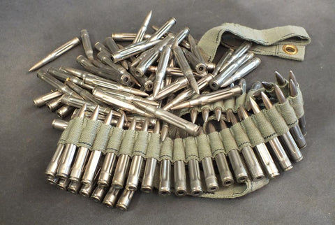 Original U.S. 100 WW1 & WW2 Dummy Rounds and Web MG Belt- SELECT