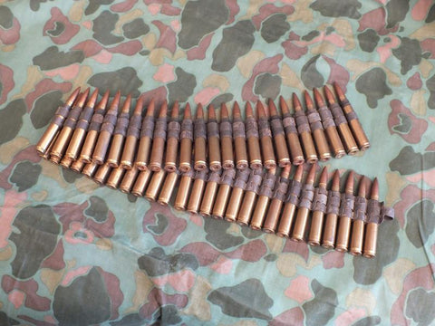 US WW2 Cal. 30 Display Ammunition in Steel Belt, 50 Rounds