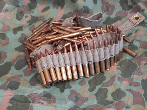 US 30 Caliber Dummy Brass MG Cartridges, 100 With Web Belt