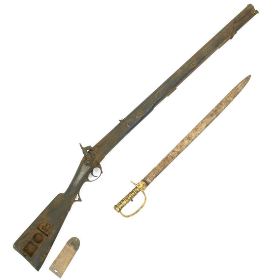 Original British Brunswick P-1837 type Percussion Two Groove Rifle with Sword Bayonet- Untouched Condition Original Items
