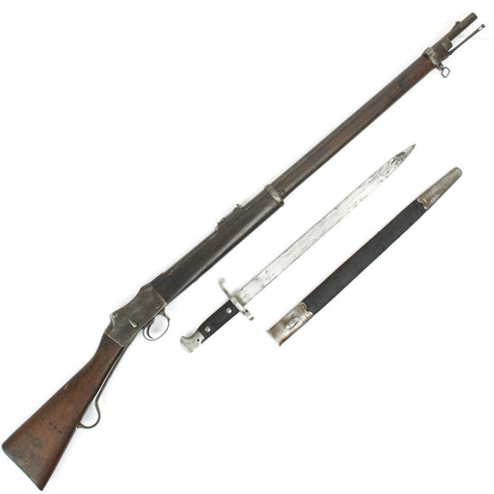 Original British P-1885 Martini-Henry MkIV Rifle Pattern B with MkIII Sword Bayonet - Cleaned and Complete Condition
