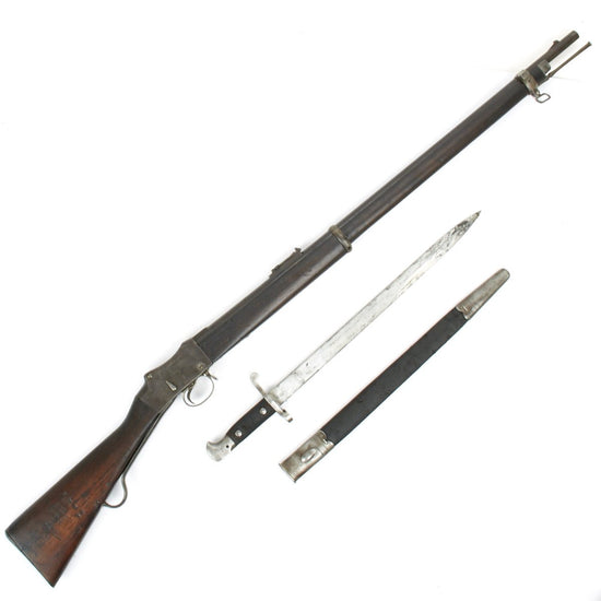 Original British P-1885 Martini-Henry MkIV Rifle Pattern C with MkIII Sword Bayonet - Cleaned and Complete Condition
