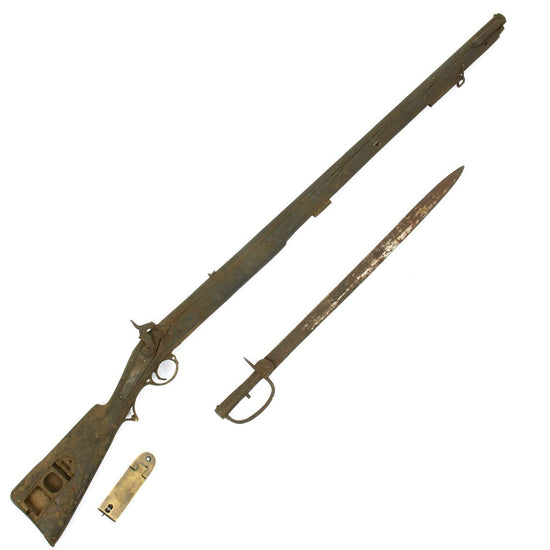 Original British Brunswick P-1841 type Early Model Officer Musket with Sword Bayonet- Untouched Condition Original Items