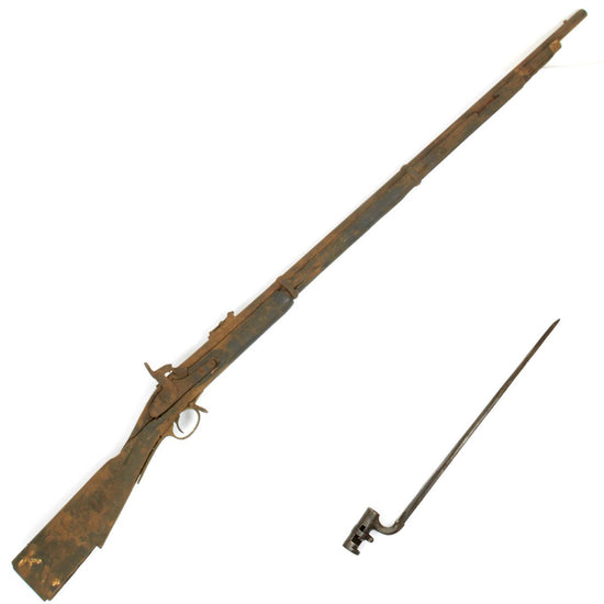 Original British P-1853 Three Band Enfield type Rifle - Untouched Full Stock Parts Gun with Bayonet Original Items