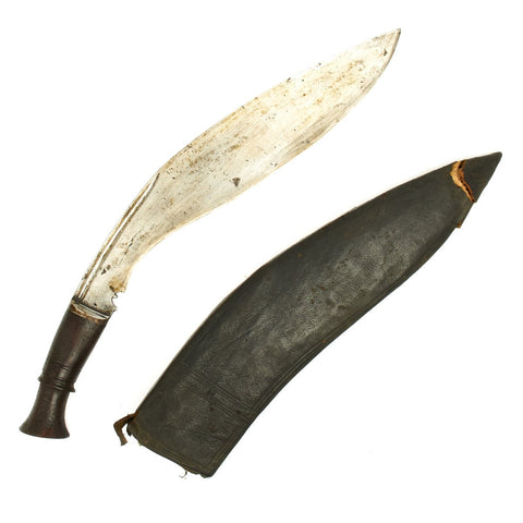 Original 19th Century Nepalese Gurkha Long Leaf Kukri Fighting Knife with Scabbard