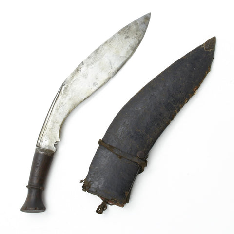 Original Nepalese Gurkha Kukri Bhojpure Fighting Knife with Soft Leather Scabbard- Unmarked Original Items