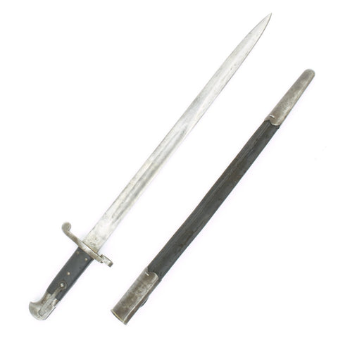 Original British Martini-Henry Rifle P-1887 MkI Sword Bayonet with Steel Mounted Leather Scabbard
