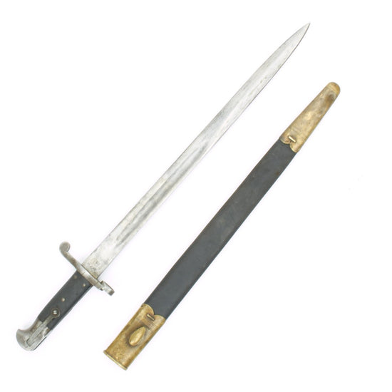 Original British Martini-Henry Rifle P-1887 MkI Sword Bayonet with Brass Mounted Leather Scabbard Original Items