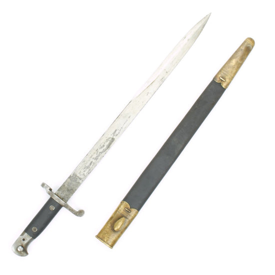 Original British Martini-Henry Rifle P-1887 MkIII Sword Bayonet with Brass Mounted Leather Scabbard Original Items