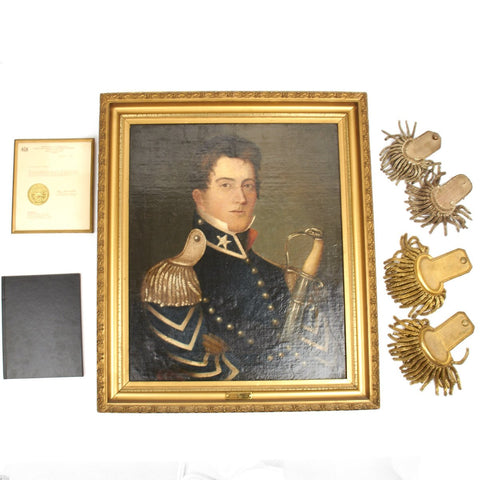 Original U.S. Mexican-American War Set of Officer Daniel Reutter- Oil Painting, Epaulettes, Documents - Circa 1842 Original Items