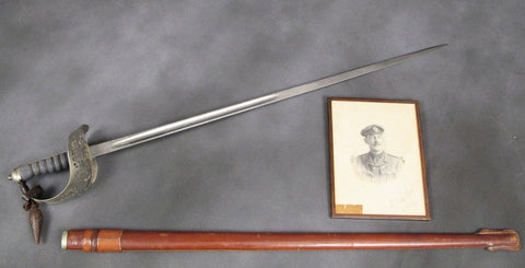 British Personal P-1895 Officer Sword and Signed Photograph Set