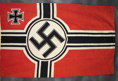 Original German WWII Naval Battle Flag with Wartime Markings