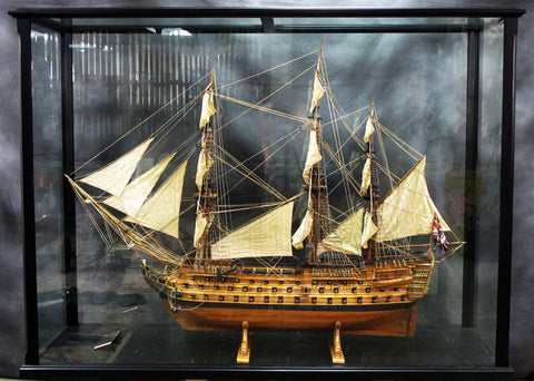 British H.M.S Victory 1:48 Scale Model with Custom Mahogany and Glass Case Original Items