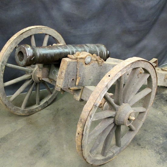 Original Antique 18th Century 4 Pounder Crested Bronze Cannon with Wood Field Carriage