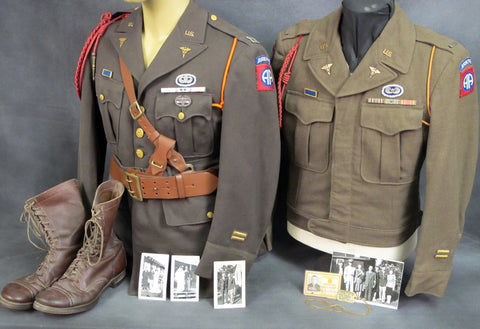 Original U.S. WWII 82nd Airborne Named Officer's Collection Original Items